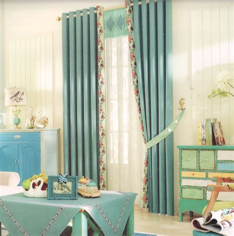 Country Style Curtains And Drapes - floral spliced country style curtains and drapes