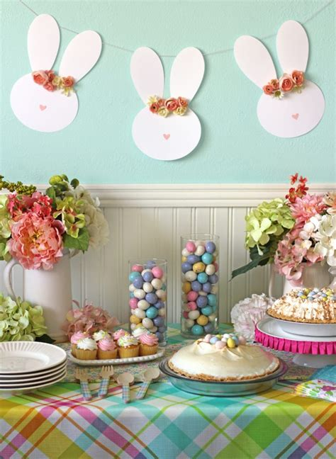 decorations for easter easy easter table decor and a floral crown easter bunny