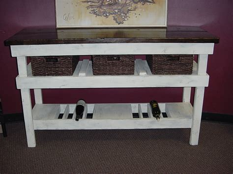 Thick Pine Top Country Chic Wine Bar Buffet Table W