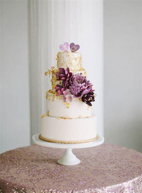 purple  gold wedding cake elizabeth anne designs