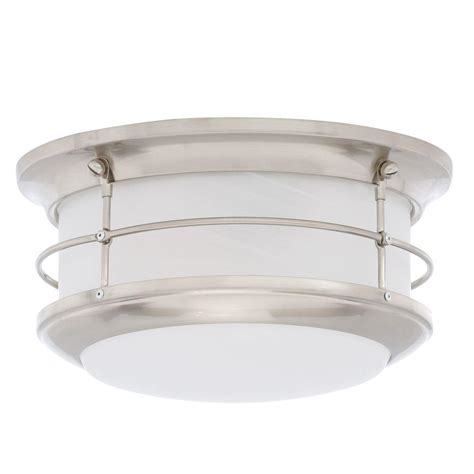 picture lighting home depot lighting newport brushed nickel 2 light outdoor flush mount sl928378 the home depot