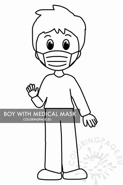 Mask Child Medical Coloring Protective Covid Boy