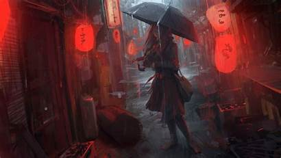 Anime Rain Wallpapers Digital Umbrella Artwork 4k