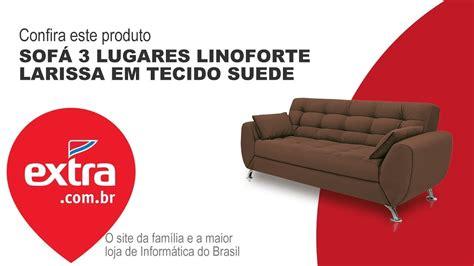 sofá 3 lugares linoforte larissa em tecido suede marrom sof 225 3 lugares linoforte larissa em tecido suede extra