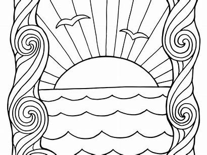 Sunset Coloring Pages Ocean Colouring Printable Popular