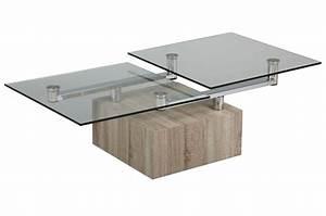 Table Basse Design Bois Et Verre Plateaux Pivotants Cbc