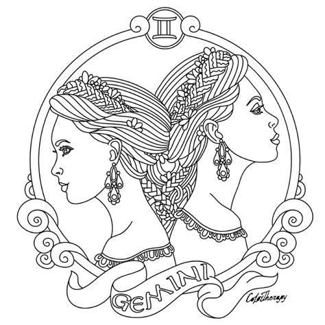 gemini zodiac beauty colouring page easy christmas