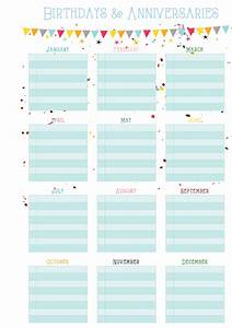 birthdays anniversaries on one page free printable With birthday and anniversary calendar template