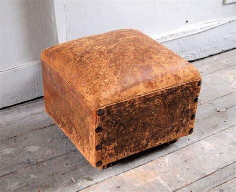 vintage leather footstool antique leather footstool puckhaber decorative antiques 3235