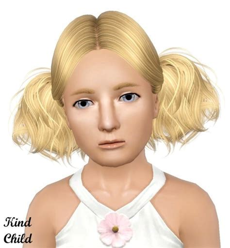 Double pigtail hairstyle Butterflysims 088 retextured by