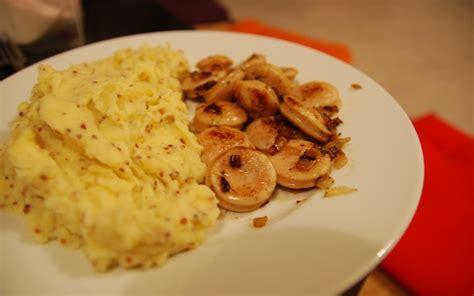 cuisine de l etudiant recette boudin blanc et purée à la moutarde à l 39 ancienne