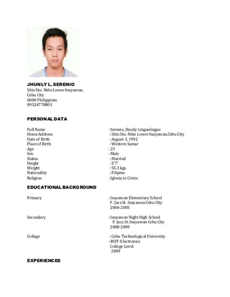 Personal Data To Put In Resume by Resume