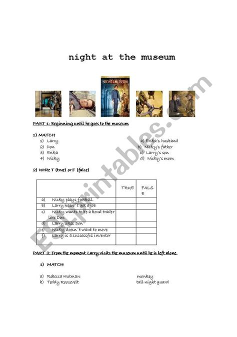 worksheets at the museum