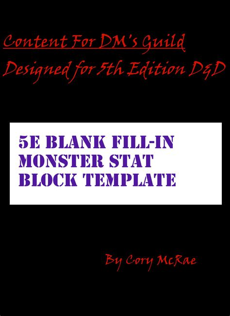blank fillable  monster stat block table dungeon
