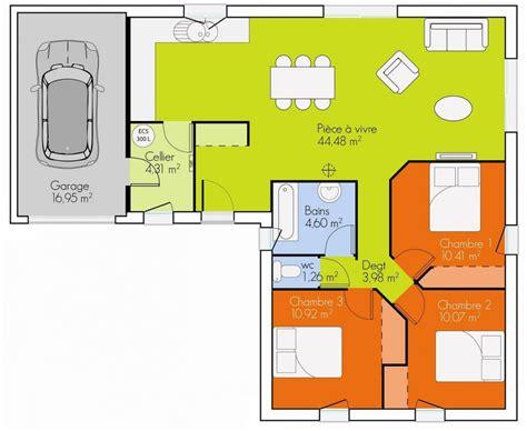 plan de maison plain pied moderne plan maison 3 chambres plain pied