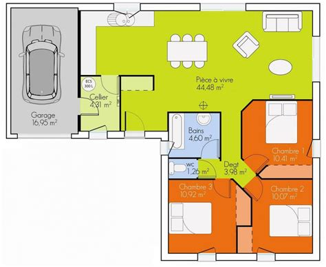 plan maison plain pied 2 chambres garage plan maison 3 chambres plain pied