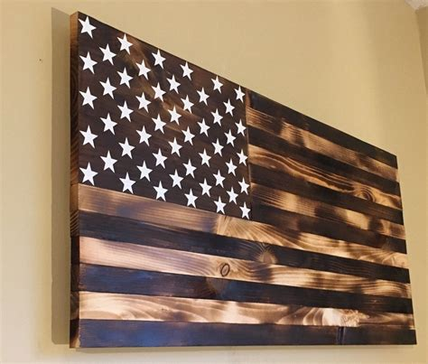 burnt wooden american flag  countryboycraftin  etsy