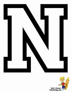 sports college alphabet coloring free alphabets With alphabet letter n