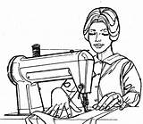 Sewing Clipart Quilting Woman Dressmaker Cartoon Lady Notions Thread Christian Clip Machine Treasure Box Needle Garment Cliparts Library Industry sketch template