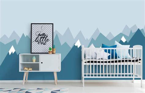 behang met blauwe bergen fotobehang