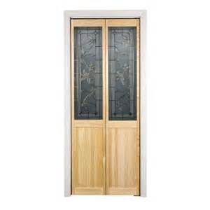 Folding Doors Interior Home Depot Pinecroft 30 In X 80 In Glass Panel Tuscany Wood Universal Reversible Interior Bi Fold