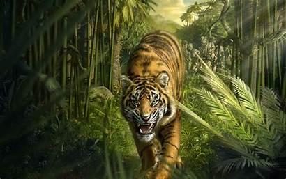 Tiger Jungle Wallpapers Roaring Bamboo Desktop Hintergrundbilder