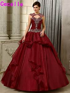 2017 new ball gown burgundy wedding dresses non white for Burgundy wedding dresses gowns new