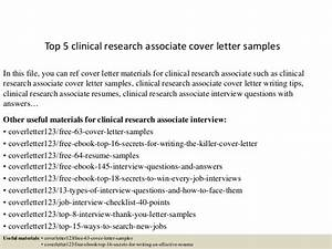top 5 clinical research associate cover letter samples With clinical research associate cover letter