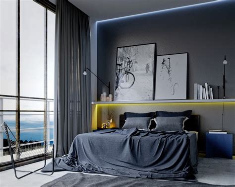 elegant mens bedroom ideas  artistic concept  long