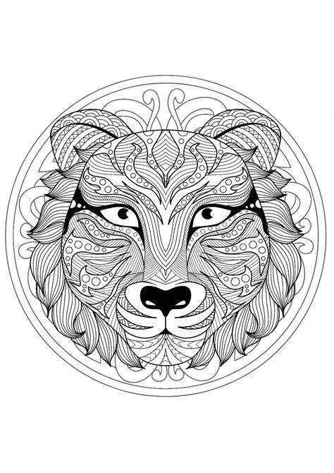 beautiful tiger head mandala mandalas  animals  mandalas zen anti stress