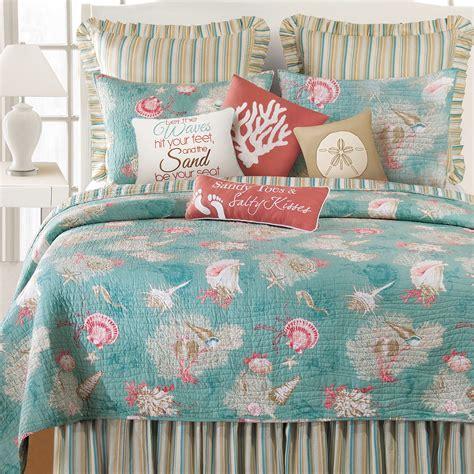 santa catalina coastal seashell quilt bedding