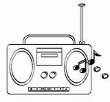 Radio Coloring Cassette Coloringcrew sketch template