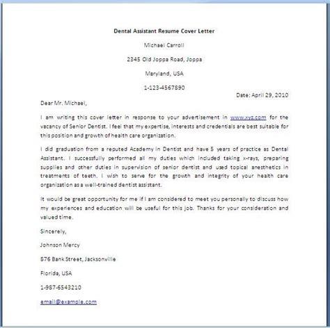 dental assistant cover letter dental assistant resume