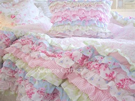 shabby chic quilt bedding sets shabby cottage colors chic petticoat ruffles twin or queen quilt set