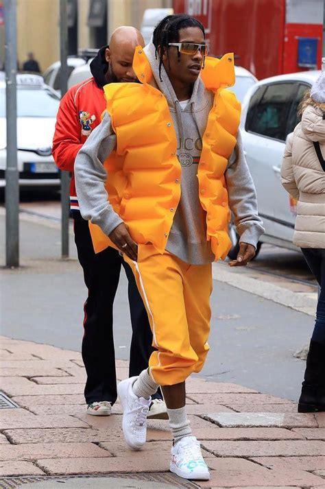 asap rocky wears balenciaga jacket gucci hoodie