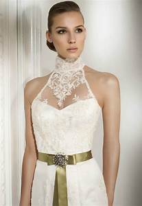 lace wedding dress with sheer lace halter neckline With lace halter wedding dress