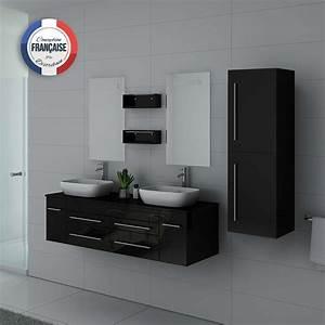 Meuble Double Vasque Design : meuble double vasque noir laqu dis748 meuble de salle de bain double vasque noir laqu ~ Mglfilm.com Idées de Décoration