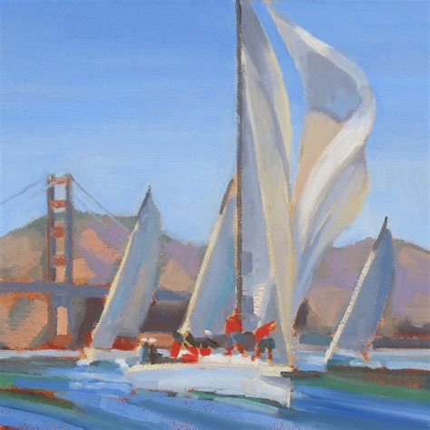 Sailboat Oil Painting by Katherine Mcguire Artist Oil Paintings Of California