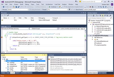 how to debug android debugging c code on android with visual studio 2015