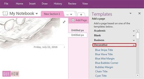 onenote templates 2016 how to create add and customize a template in onenote 2016 with pictures quehow