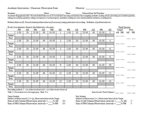 systematic observation form academic intervention classroom observation data collection