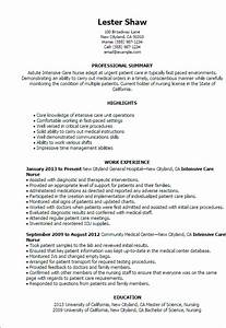 professional intensive care nurse templates to showcase With icu rn resume