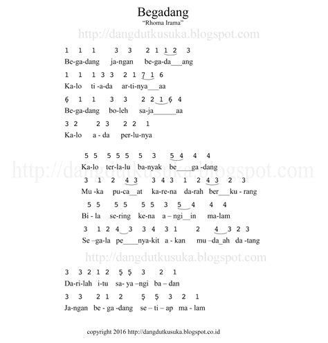 not angka lagu not angka lagu terbaru lagu begadang not angka lirik dan chord didangdutin