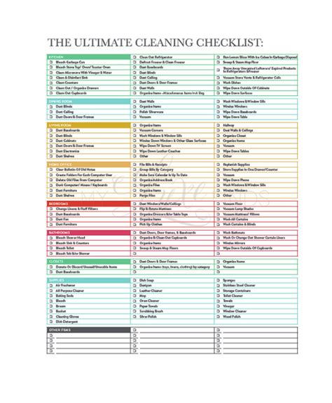 professional house cleaning checklist template printable