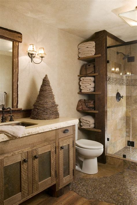 Rustic Bathroom Paint With Open Shelves Handle Sink Faucets