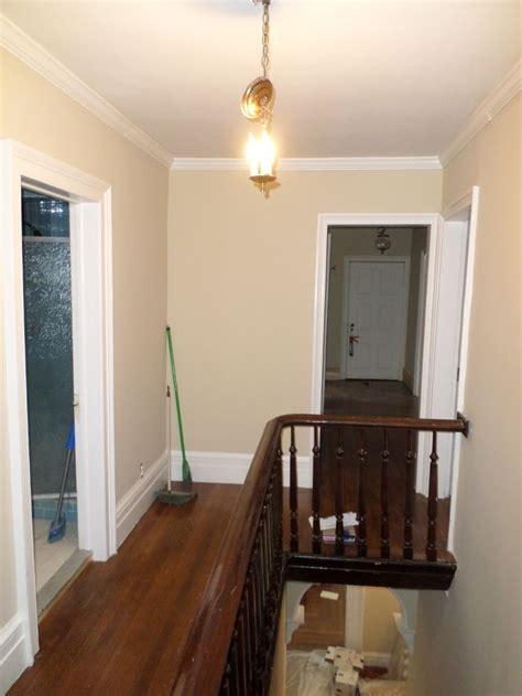 upstairs hall newly painted benjamin moore carrington beige greek revival restoration