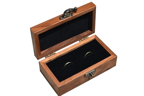 double wedding ring box in solid walnut perfect for ring