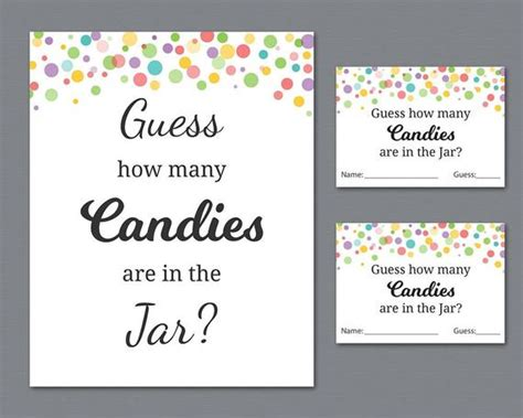 Rainbow Candy Guessing Game Baby Shower Games Printable