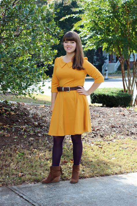 jeanie outfit mustard oasap dress purple tights