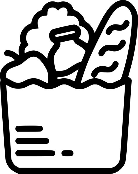 grocery clipart black and white grocery bag svg png icon free 482886